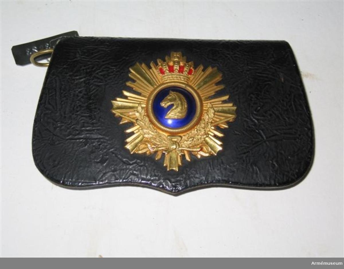 Grupp C I.  Med hästhuvud i guld på blå emalj krönt av krona och vilande på 8-uddig strålformad stjärna med två ihopknutna kvistar under globen.