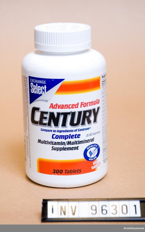 """Vit plastburk med multivitamin med texten """"Advanced formula century""""."""