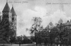 Notering på kortet: Från Sveriges Städer. Lund. Domkyrkan oc