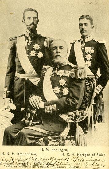 Notering på kortet: H. M. Konungen. H. K. H. Kronprinsen. H. K. H. Hertingen af Skåne.