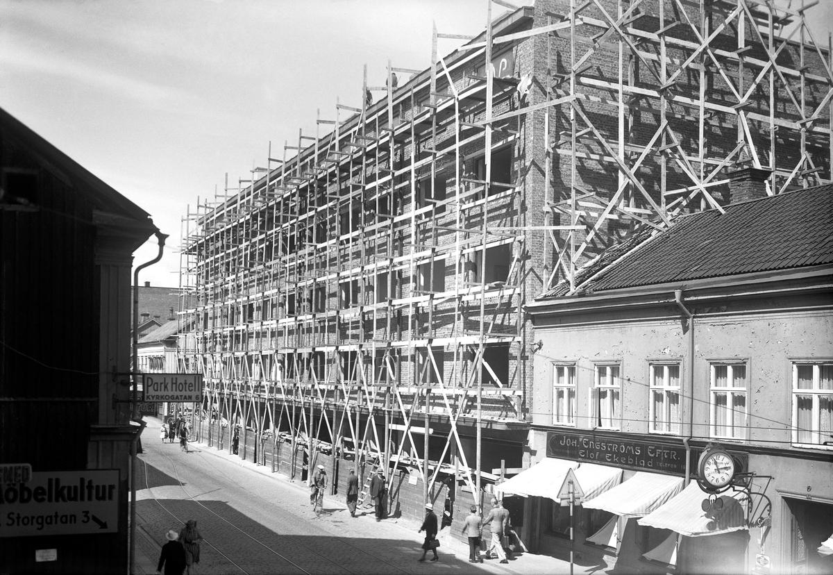 Västerhuset i Jönköping under byggnad.