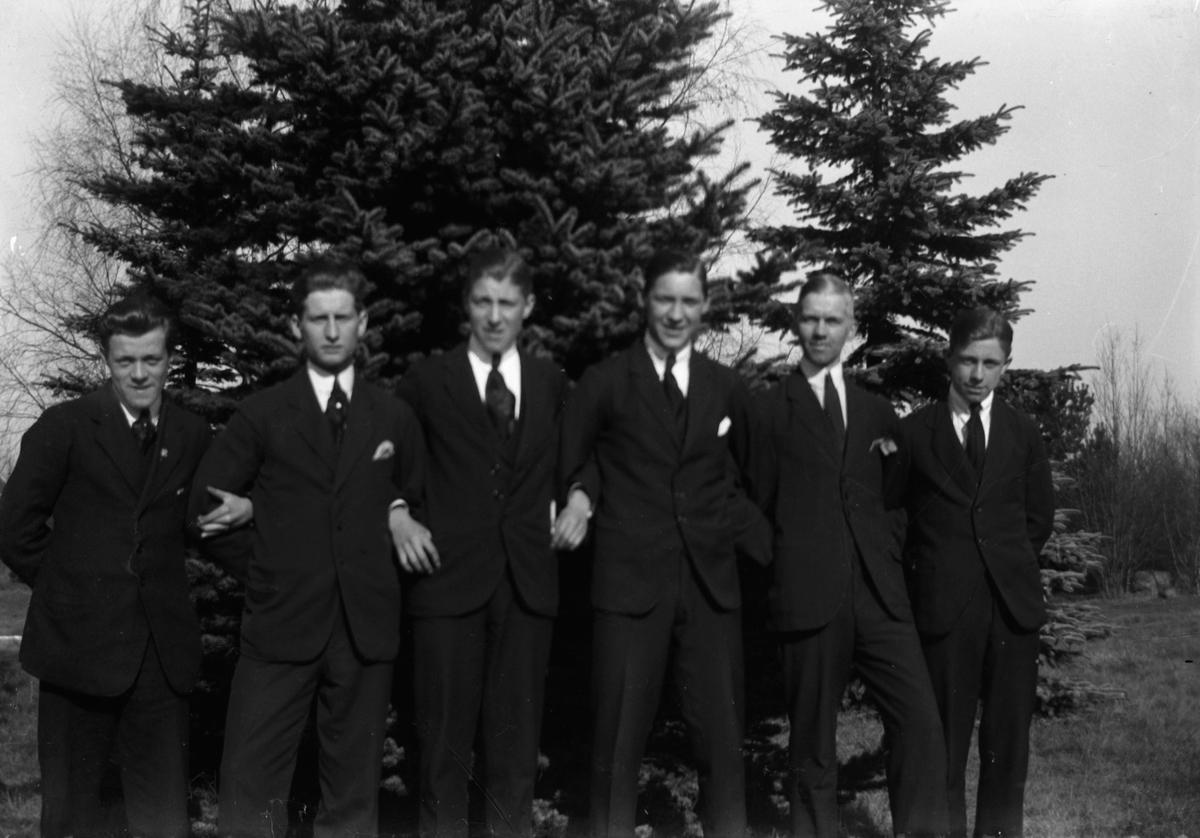 Sex män står uppställda framför några granar.