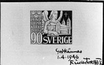 Frimärksförlaga till frimärket Lunds Domkyrka 800 år, utgivet 28/5 1946. Valör 90 öre.