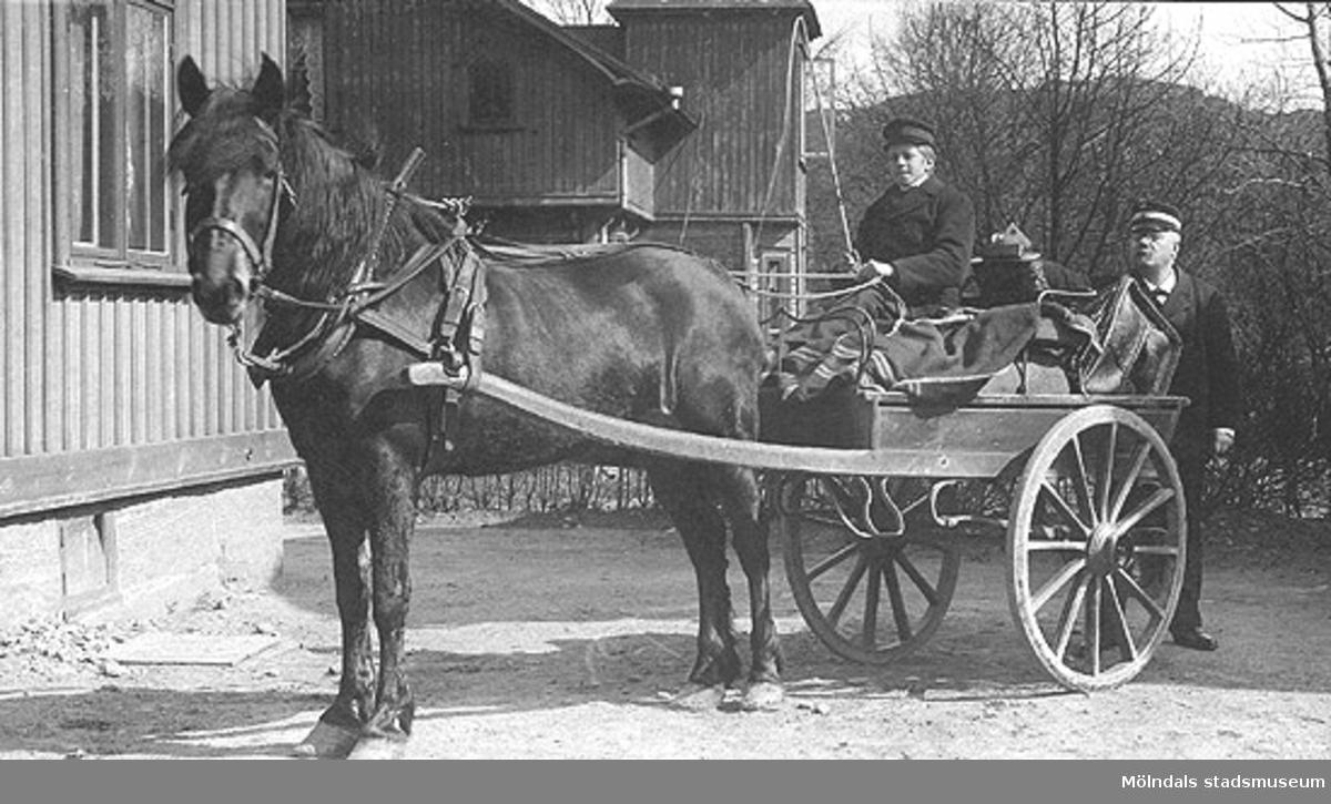 """Vykort """"brefkort """" på häst med 2-hjulig kärra och kusk. Text på fotots framsida """"Minne af den 22/1 1905. Wiktor"""" På baksidan adresserat till """"Herr Bror Carlsson, Lilla Edet"""".Obs! Uppgifter saknas."""