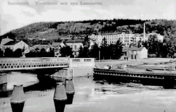 """Text till bild """"Sundsvall. Tivolibron och nya Lasarettet."""""""