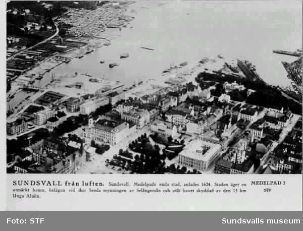 Vy över Sundsvalls hamn och Selångeråns utlopp