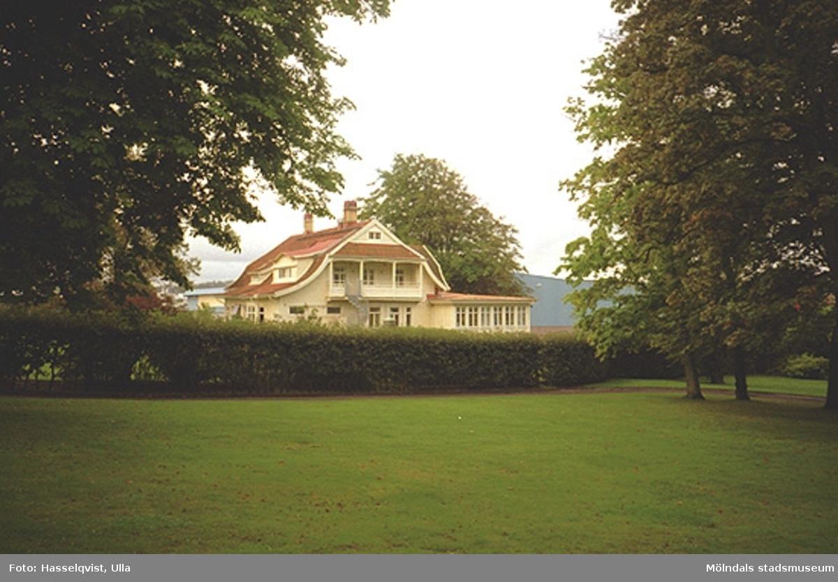 Papyrus park med den gula villan i bakgrunden (Tibellska villan/Schillers villa, senare Stora Mölndal AB:s kontor) på Nämndemansgatan 11.