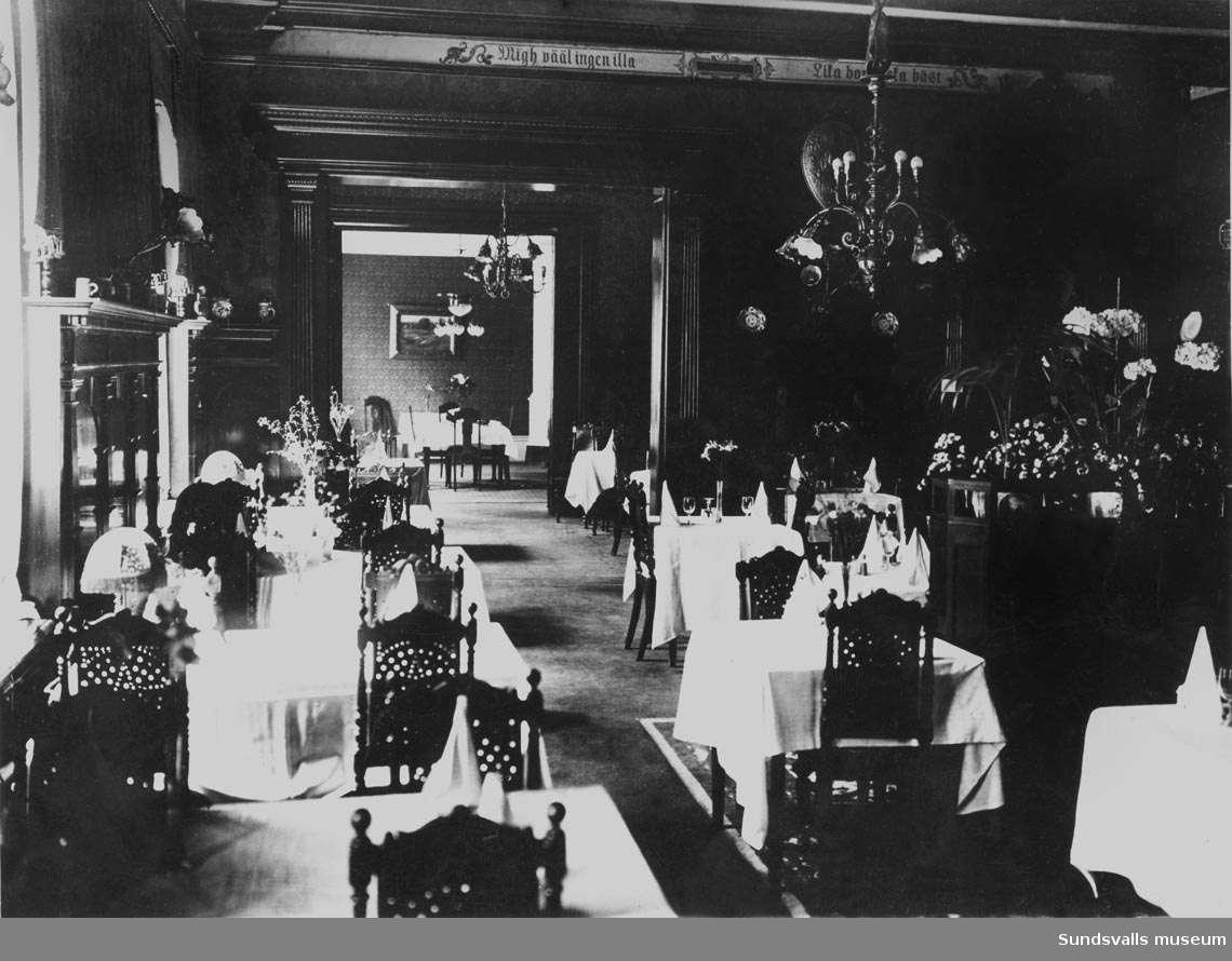 Sundsvall, kvarteret Proserpina. Hotell Knaust, matsalen (nu baren).