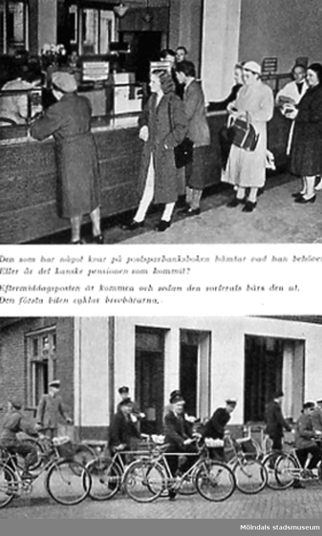Översta bilden visar människor som köar på Postsparbanken. Den undre visar brevbärare som cyklar ut med posten.