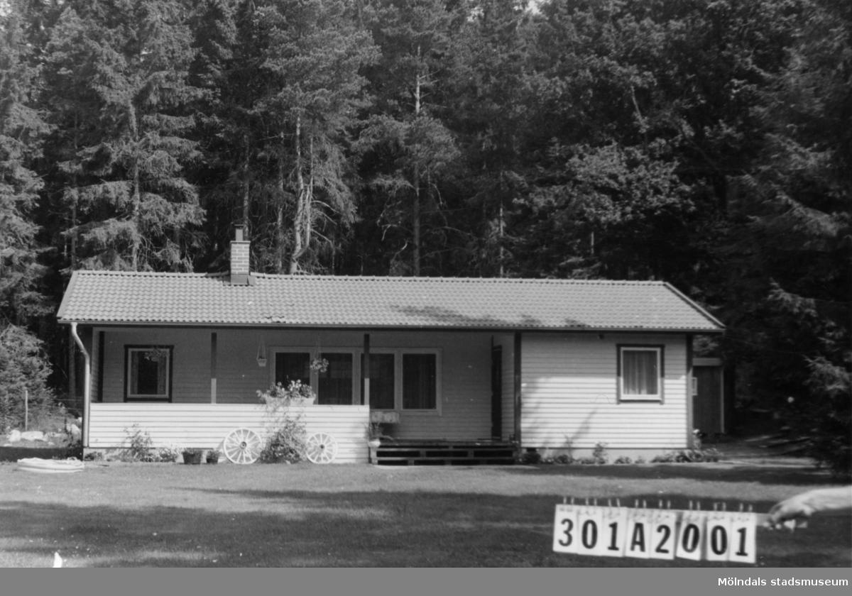 Byggnadsinventering i Lindome 1968. Knipered 2:17. Hus nr: 301A2001. Benämning: fritidshus och redskapsbod. Kvalitet, fritidshus: mycket god. Kvalitet, redskapsbod: mindre god. Material: trä. Tillfartsväg: framkomlig.