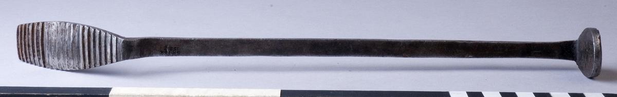 Rasp, pliggrasp, fabriksgjord av stål. Långt stålskaft som är tillplattat och böjt i vardera ände, båda ändorna med räfflor på ena sidan. Ena änden är rund, den andra något avlång för att nå fram i skospetsen.