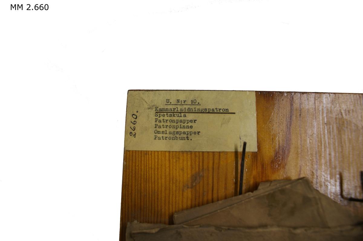 Patron till kammarladdningsgevär, jämte följande material: spetskula av bly, patronpapper 1/16 ark, patronpinne, omslagspapper 1/2 ark och en bunt om 10 st sk. patroner.