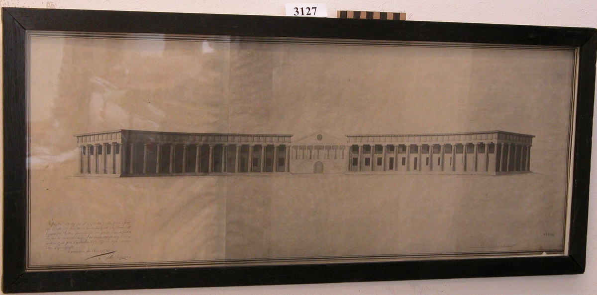 Perspektivritning över Corps de Garde av af Chapman 1785, i glas och ram.