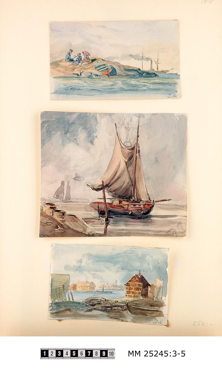 """Akvarell föreställande segelbåt. Bilden signerad i högre hörnet: """"JA""""."""