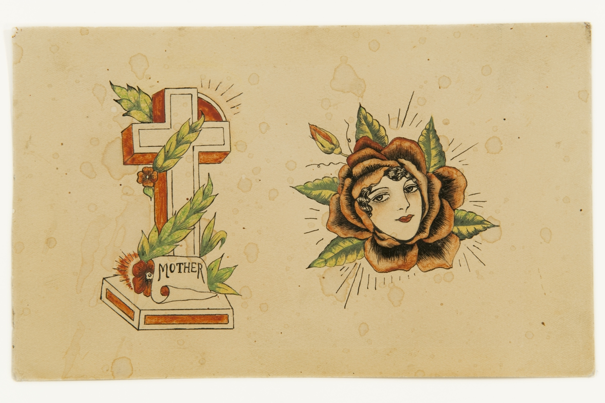 """Tatueringsförlaga. Två olika motiv. 1. Kors på en sockel omslingrad av en ranka och med påskriften """"MOTHER"""". 2. En röd ros med med ett kvinnoansikte i mitten.  2) """"En kvinna inut en ros. Motivet kan tolkas som att kvinnan föds ur ett kvinnligt sköte. Det kan också vara en ren komposition utan en speciell innebörd, en blandning av de motiv som används i tatueringskonsten. Idag förekommer det att kunder väljer liknande motiv men vänder på könsrollerna.""""  Text från appen """"Tatuera dig med Sjöhistoriska"""" som gjordes i samband med utställningen Tro, hopp och kärlek 2012."""
