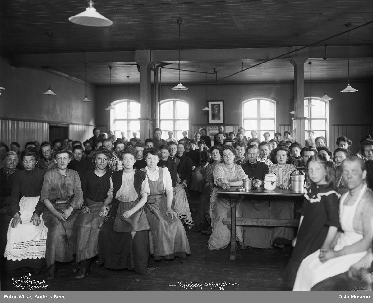 Christiania Seildugsfabrik, interiør, spisesal, arbeidere, kvinner