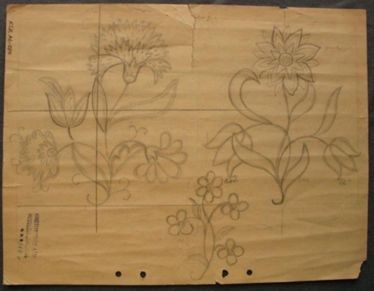 Blyertsskiss ritad på gulnat papper. Mönsterförslag på tre olika blommor, en nejlika samt en storblommig och en småblommig växt. Blå stämpel i ena hörnet: KRISTIANSTADS LÄNS HEMSLÖJDSFÖRENING.