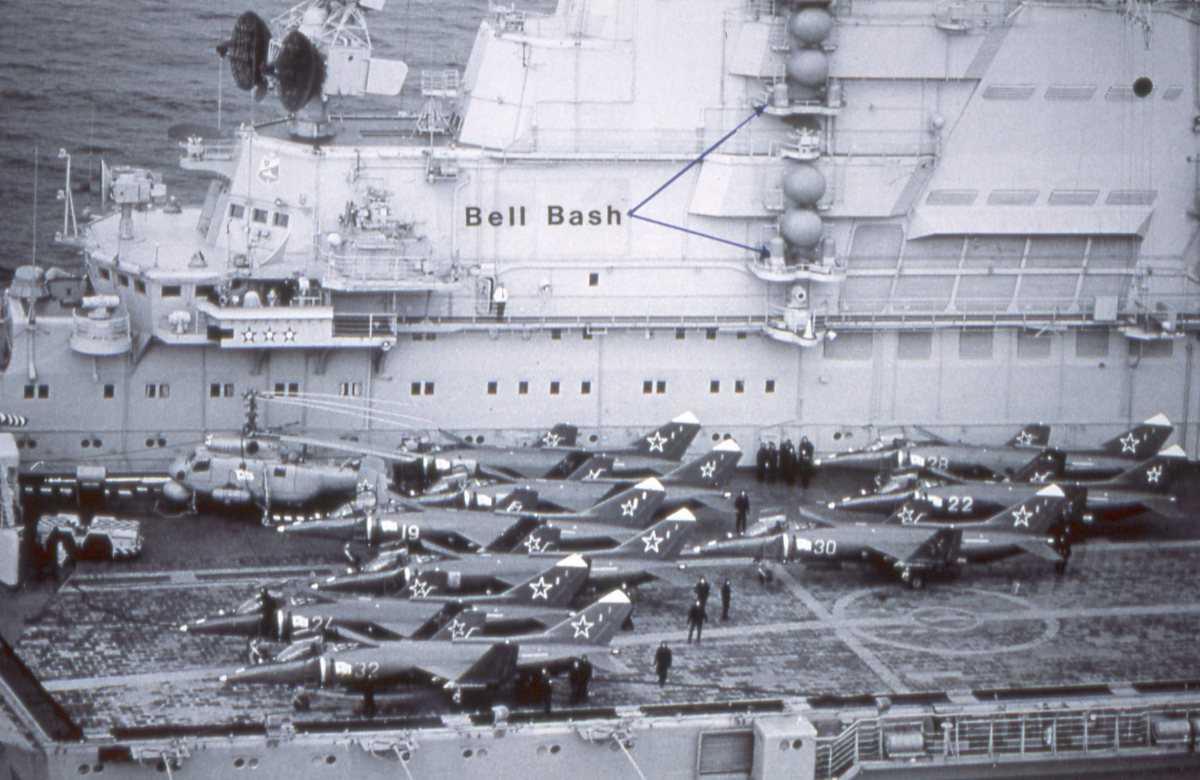 Russisk hangarskip av Kiev - klassen med 1 stk helikopter og 9 stk jagerfly på flydekket.