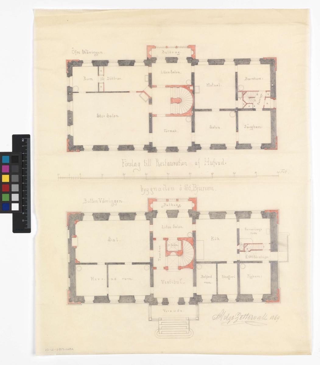 Restaurering av huvudbyggnad Stora Bjurum Plan bottenvåning och övre våning