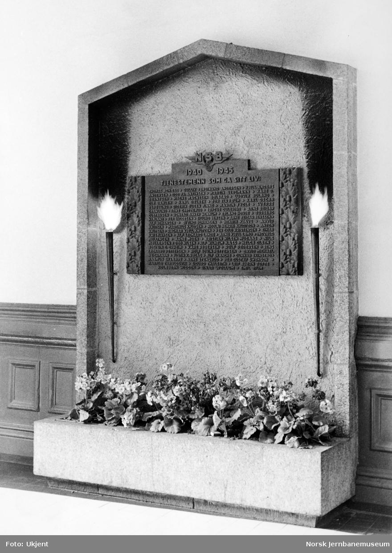Minnetavle over falne NSB-ansatte i Oslo distrikt under 2. verdenskrig