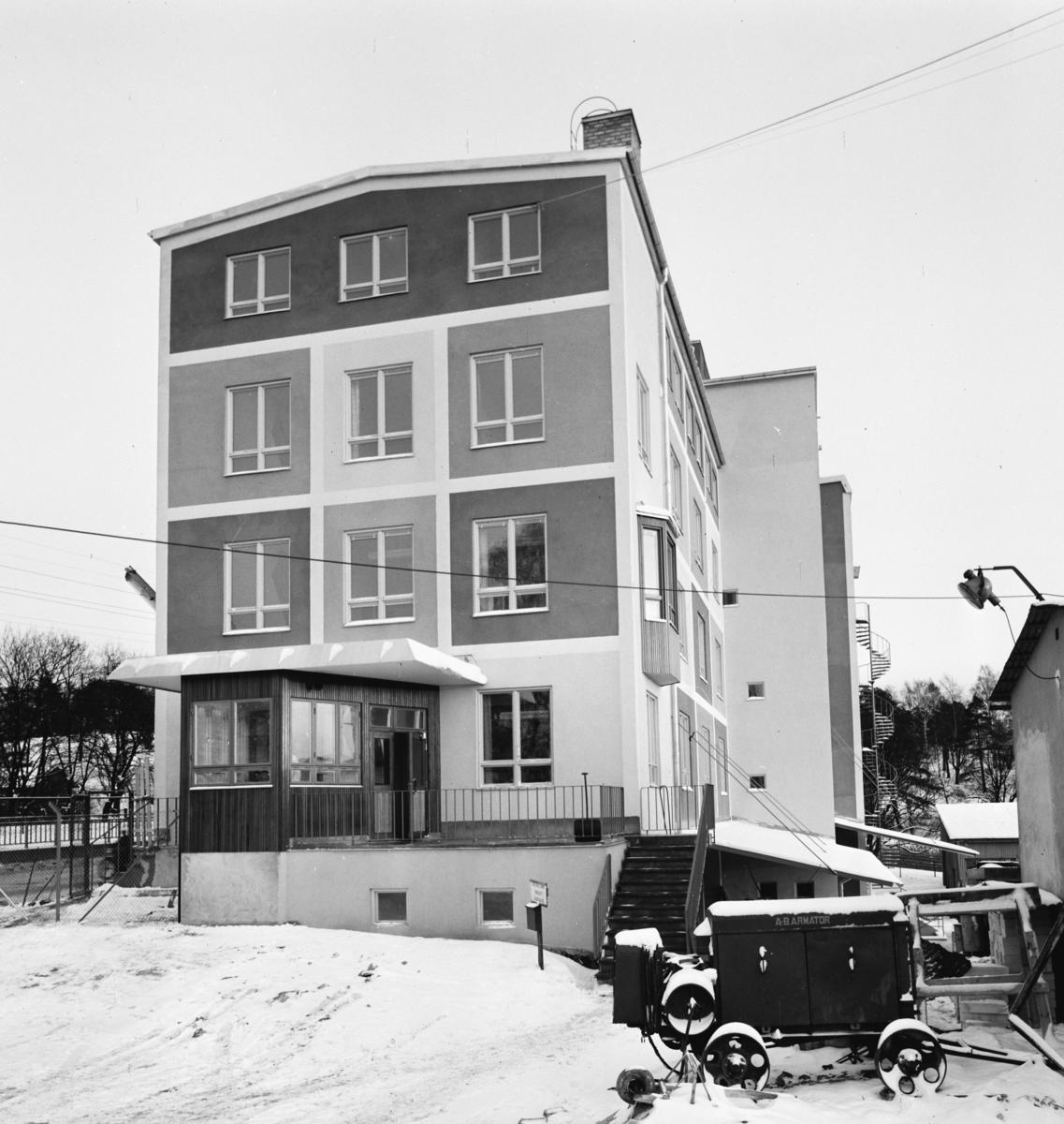 Klint Bernhard färg- och fernissfabrik Exteriör. Vinterbild