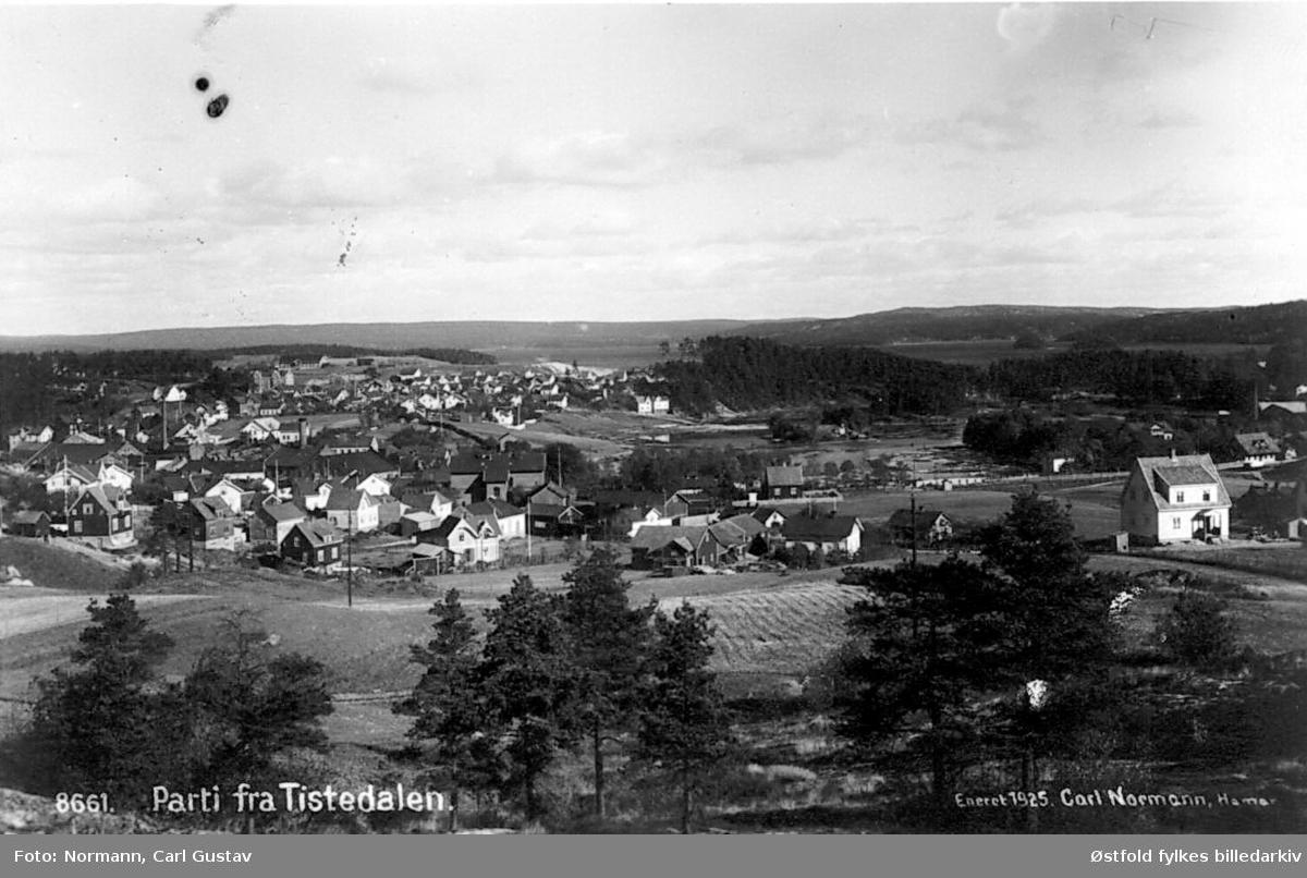 Oversiktsbilde fra Tistedal i Halden, 1925. Postkort.