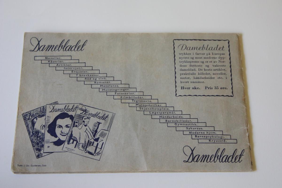 Hefta bok med 15 sider til å lime inn utklipte fargebilete av filmstjerner, 2 på kvar side. Bileta har vore trykte i Damebladet gjennom 1939, truleg 2-3 i kvart nr. Det er førehandstrykt namn og skildring av kvar filmstjerne. Bak på boka er reklame for Damebladet og innhaldet i dette. Liggande format
