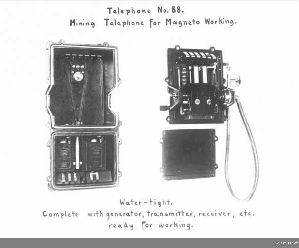 Telefonapparat, gruvetelefon, vanntett. Elektrisk Bureau.
