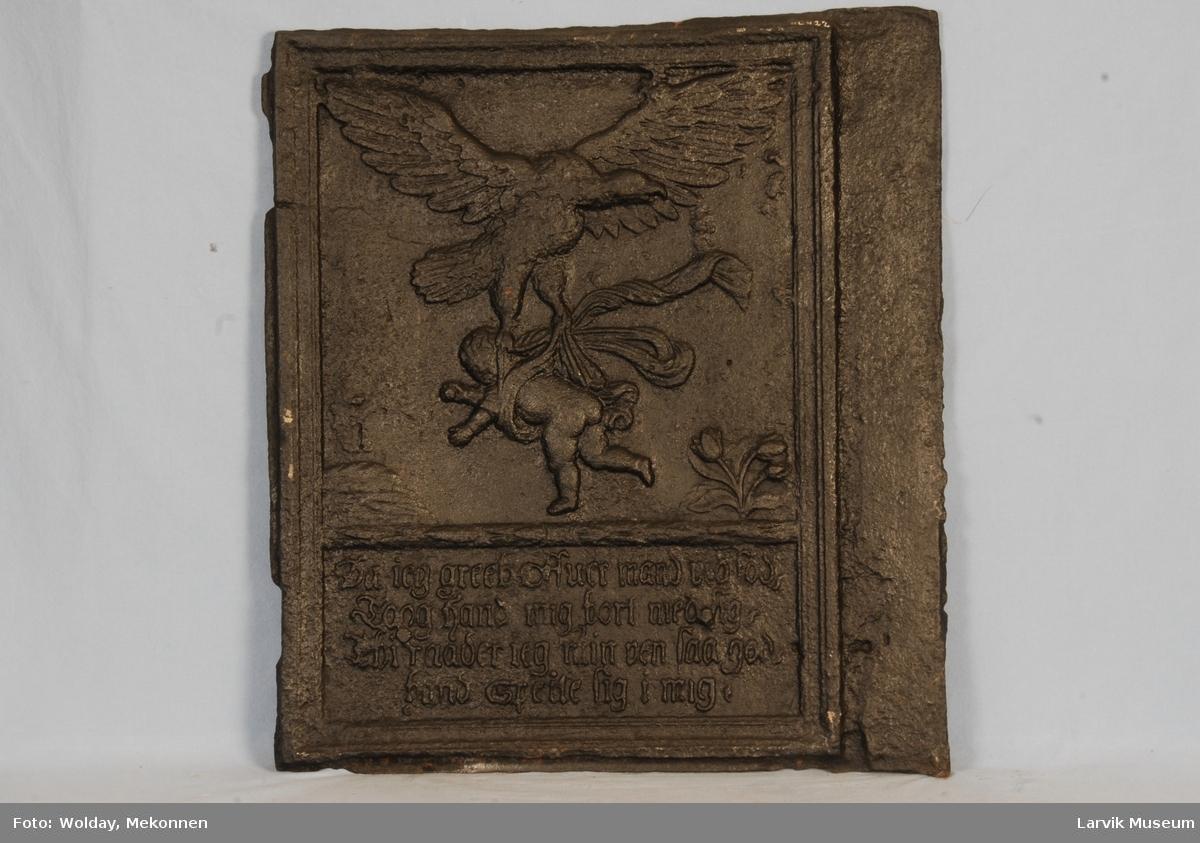 relieff av Ganymedes og ørnen. innskrift under.