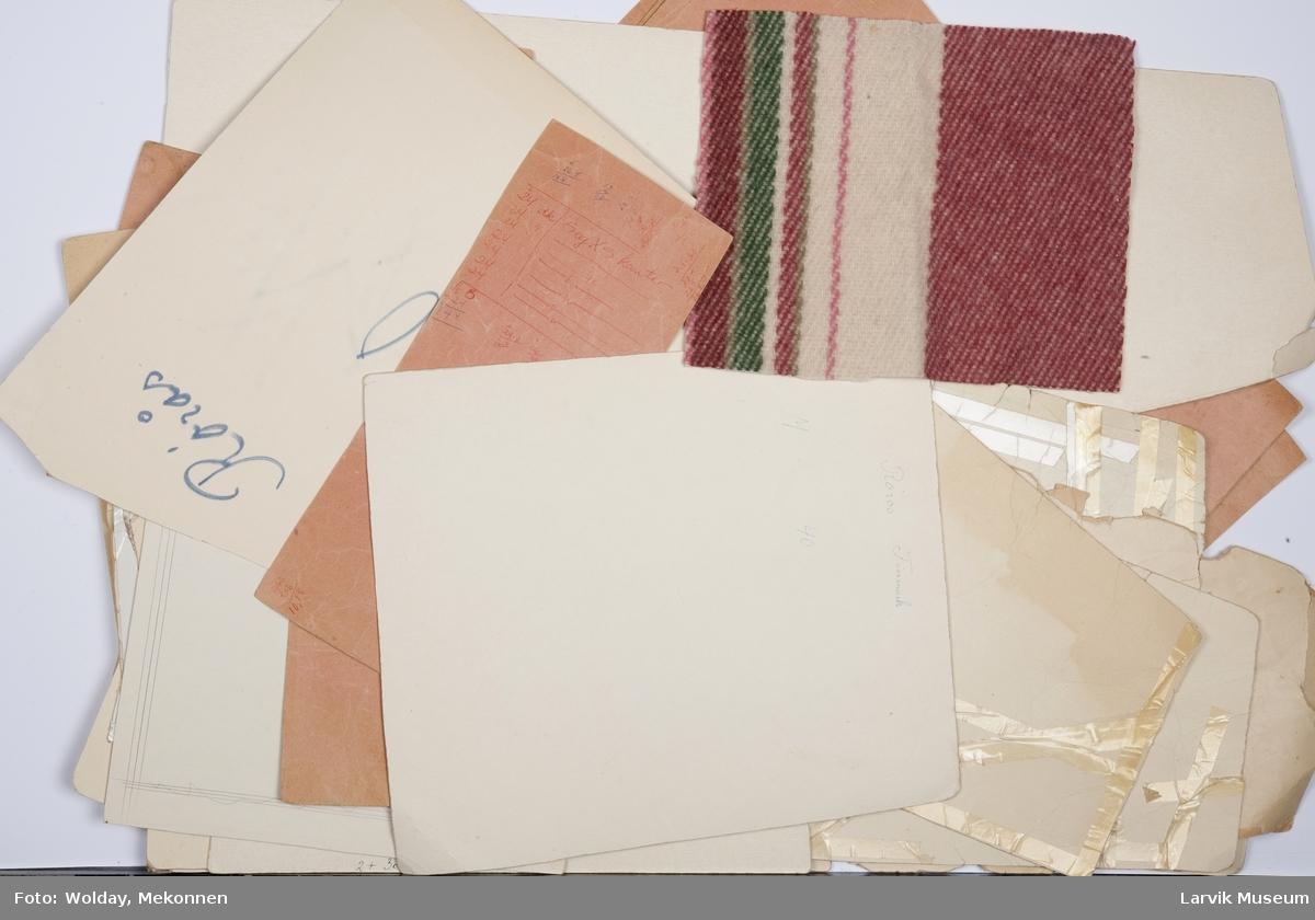 Mønsterdeler og  tilskjæringer til vams flere størrelser. For- og bakstykker, mansjetter. 7 mønsterdeler skiller seg ut fra de øvrige. disse er med notater og utregninger