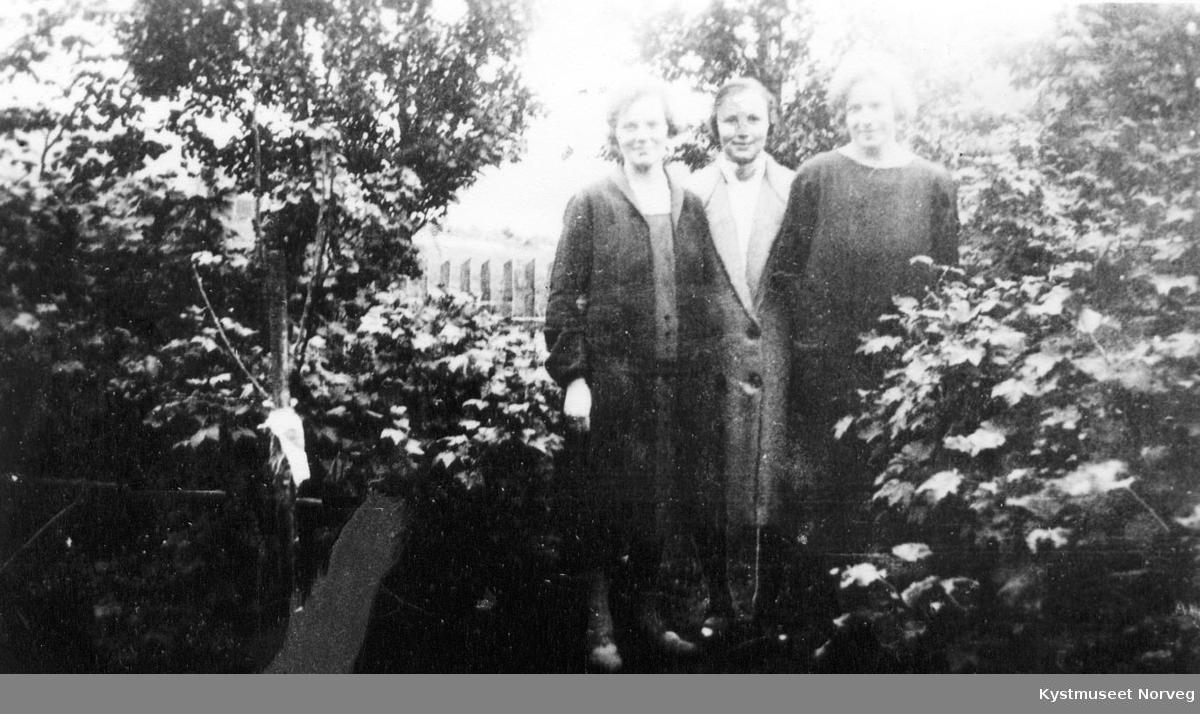3 unge kvinner i hage.