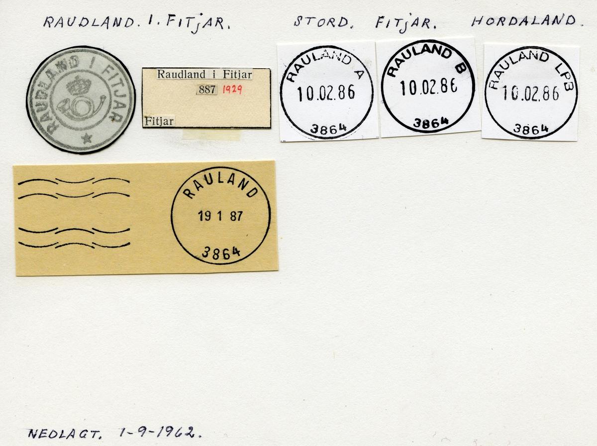 Stempelkatalog Raudland i Fitjar, Stord, Fitjar, Hordaland
