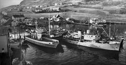 Nielsenverkstedet og Karl Hanssens verksted, med fartøyer i