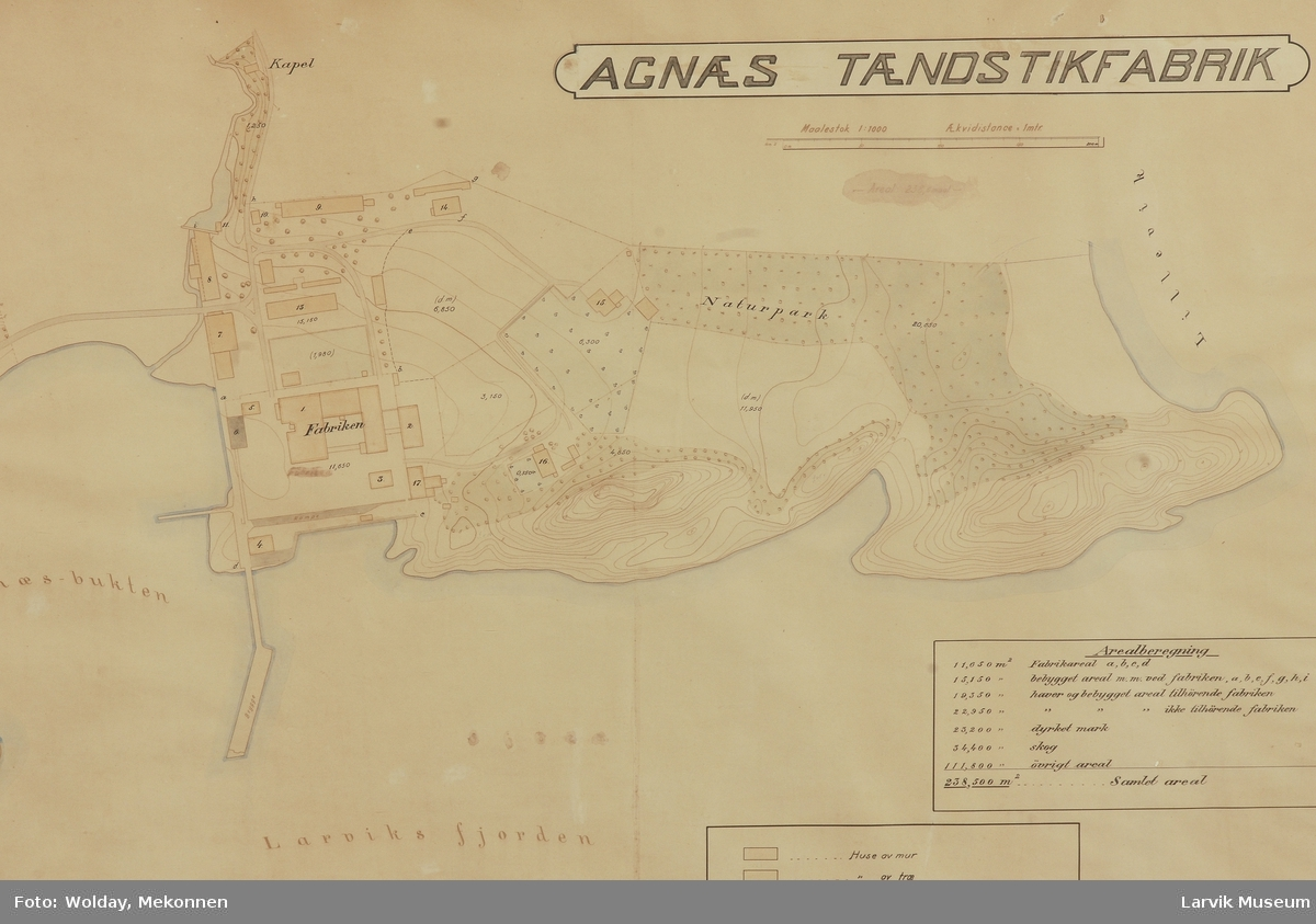 Kart over Agnes området og fjorden.