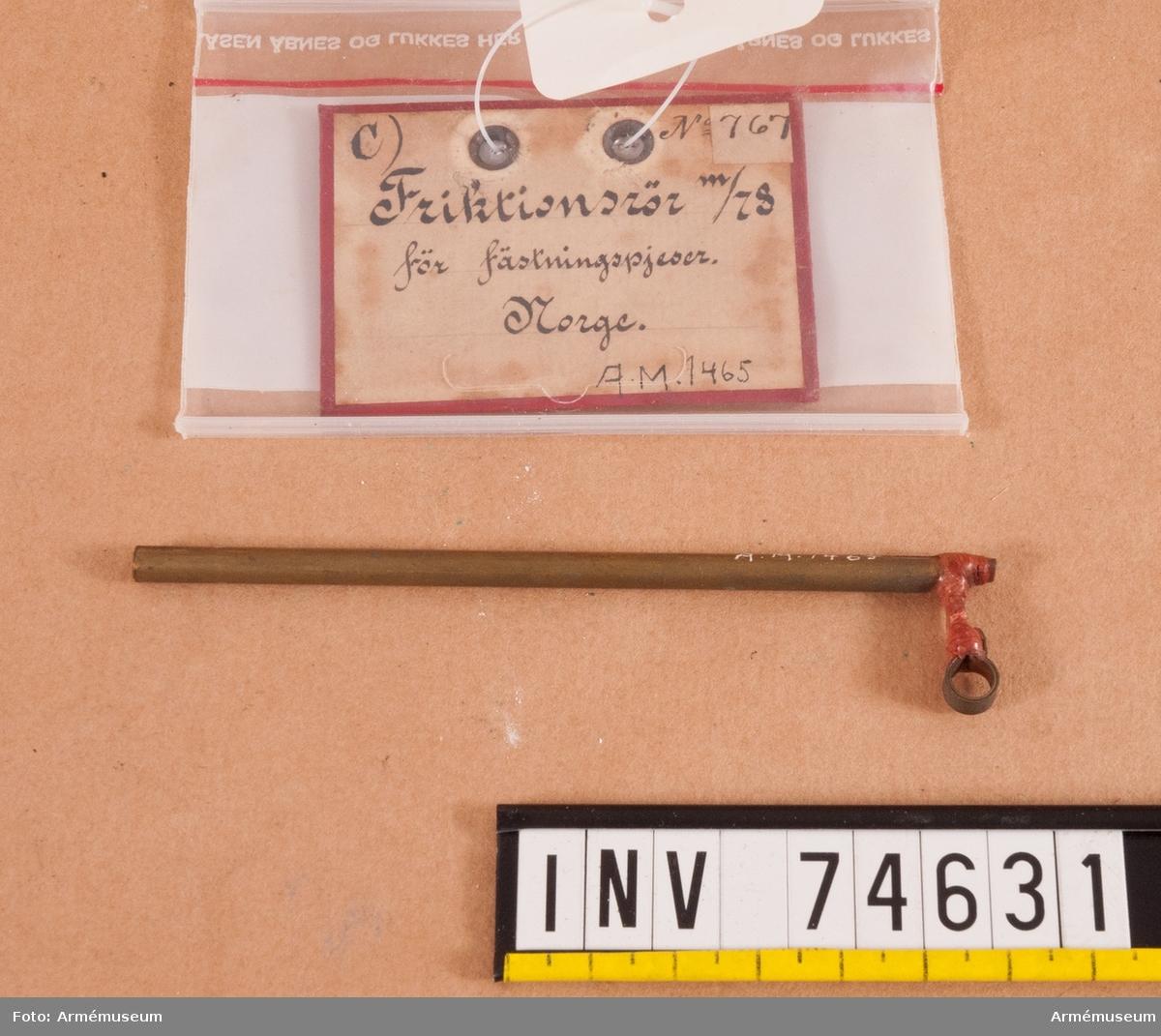Grupp F. II. Friktionsrör m/1878 för fästningspjäser.