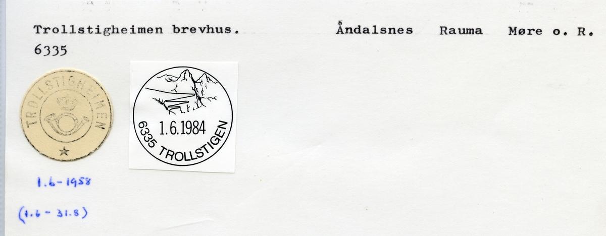 Stempelkatalog 6335 Trollstigheimen, Åndalsnes, Rauma, Møre og Romsdal