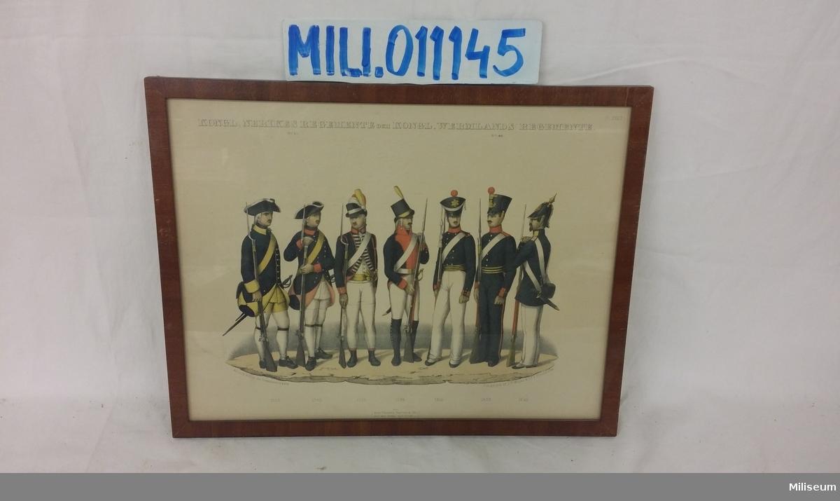 Uniformsmotiv, tryckt 1849-1853, Närke-Värmlands Regemente, inramat i lackad träram.