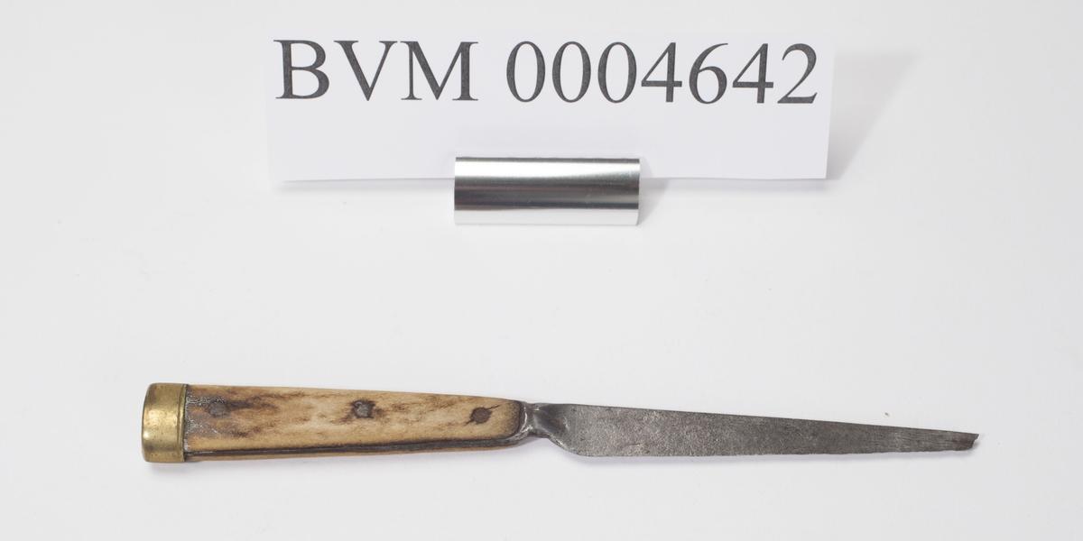 Kniv med bein- eller hornskaft. Spissen er brukket av.
