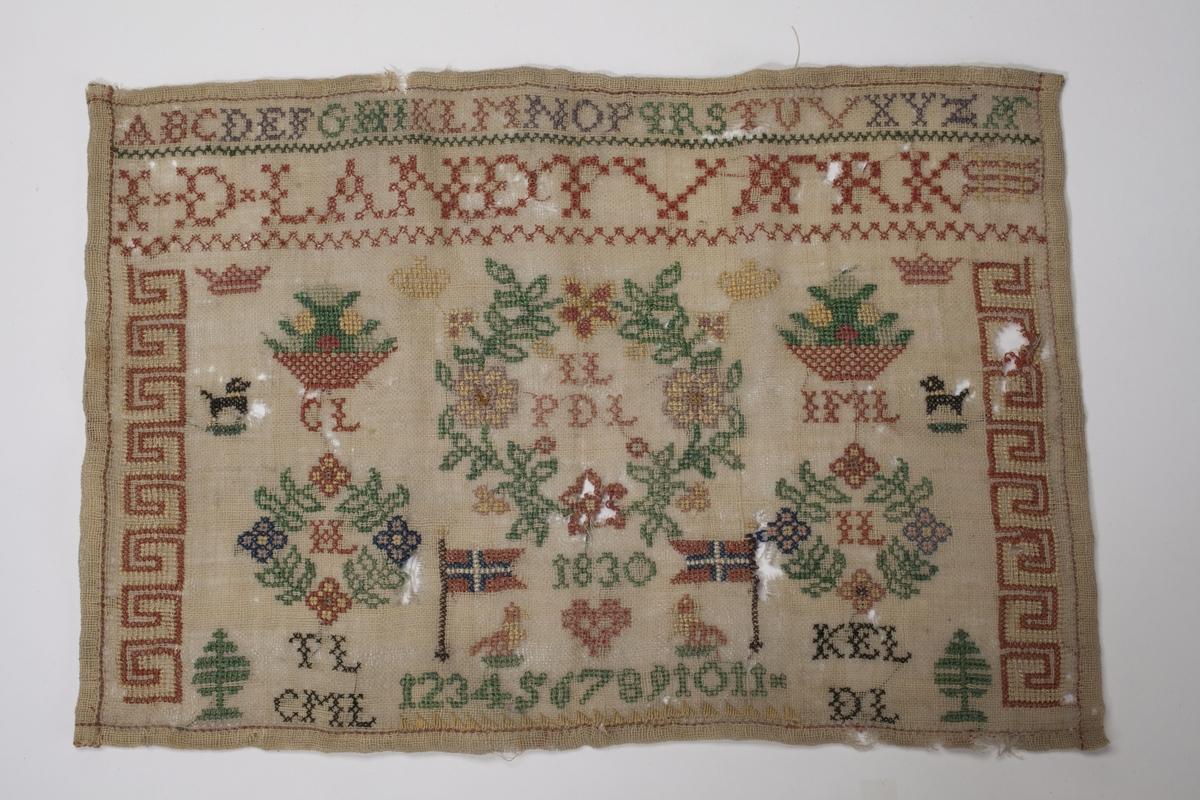 Navneduk med mange ulike motiv. Øverst står alfabetet, under dette J-D-LANDTVÆRK (Johanne Dorthea). Blant andre motiv kan nevnes den norske flagget og årstallet 1830.