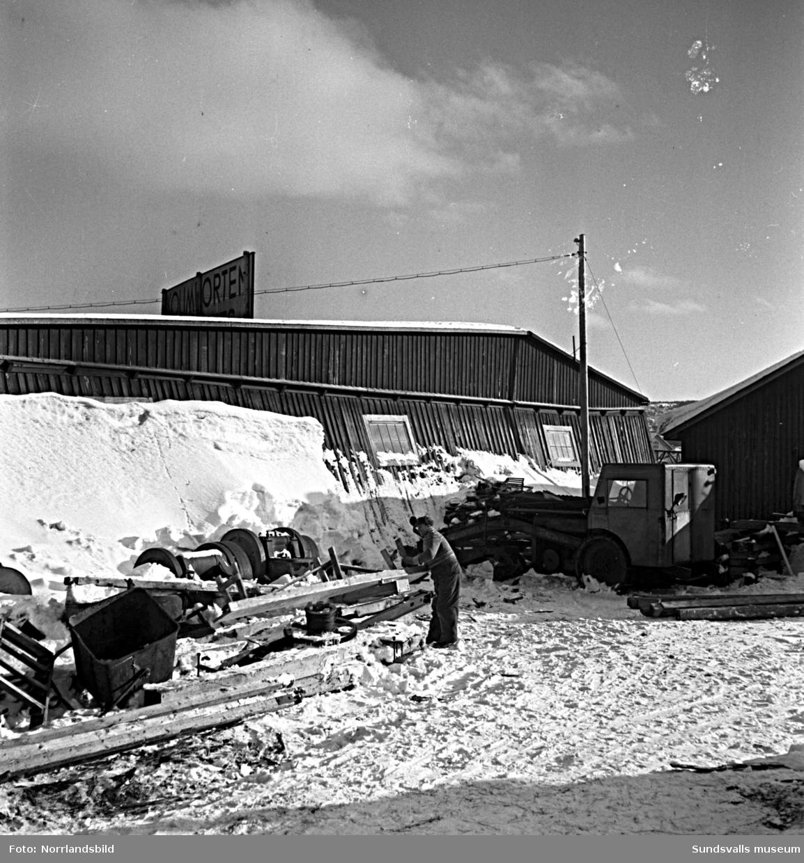 Byggnadskontorets förråd vid Heffnersvägen, intill Laurents kolimport. Interiör- och exteriörbilder från de gamla förrådsbyggnaderna.