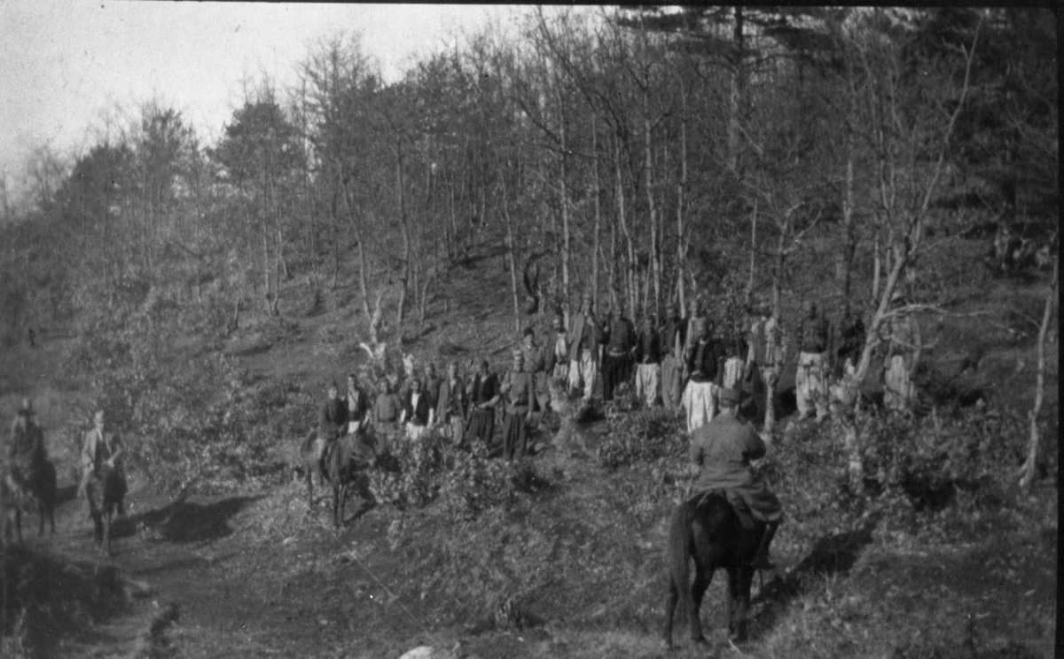 Menn i skogen, muligens soldater, trolig i tidligere Jugoslavia eller Albania