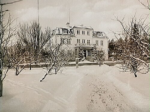 Tvåvånings villa med inredd vind, frontespis, balkong, brutet tak.Fru Berta Andersson ( A.G.Andersson ).