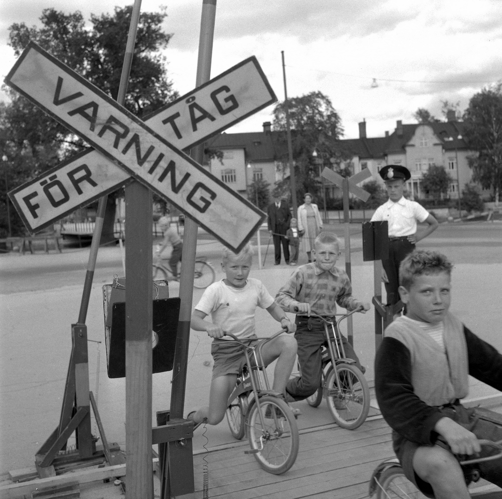 Trafikskola för barn på Stora Holmen.Juli 1956