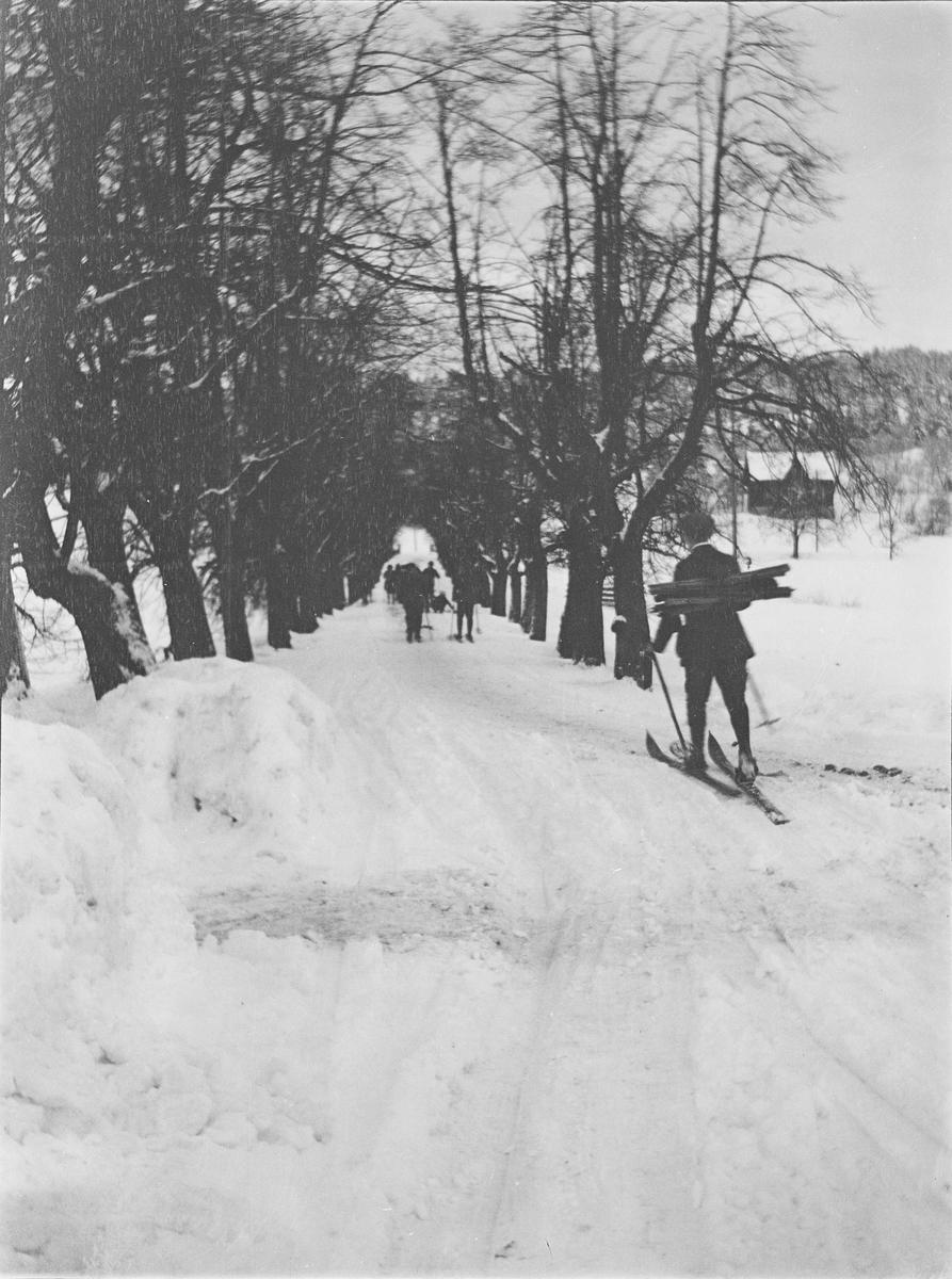 Flere personer går på ski elller sitter på kjelke på vei bort fra Linderud Gård. Veien under lindealléen er måkt , men det er nok snø for ski og kjelke. Personen nærmest fotografen bærer noe som ligner store fakler på ryggen.