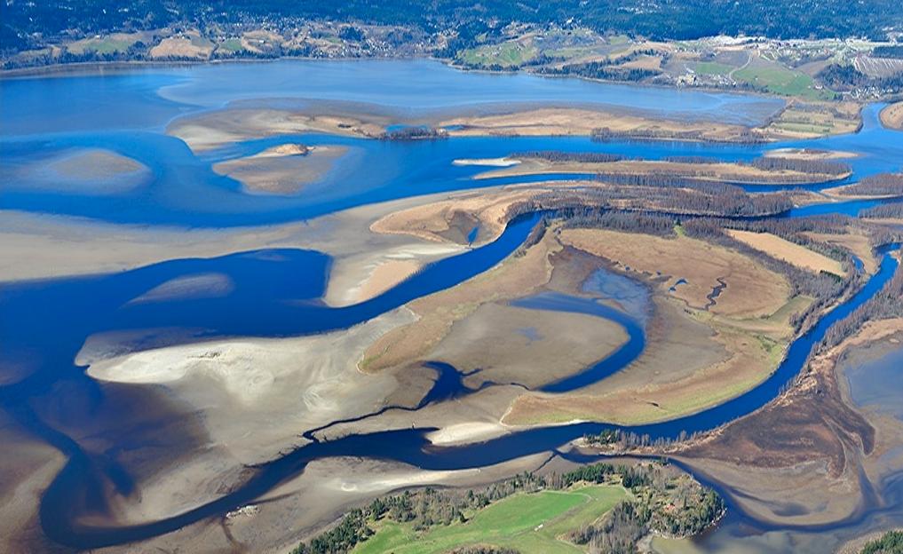 Deltaområdet ved lavvann om våren.