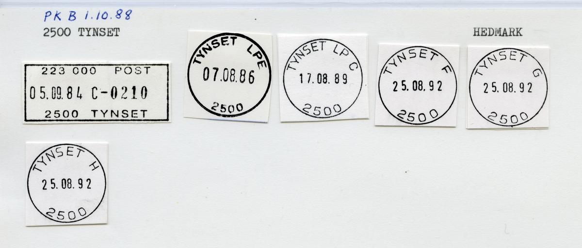 Stempelkatalog 2500 Tynset (Tønset), Hedmark