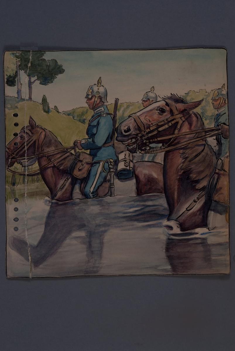 Plansch med uniform för Livregementets husarkår, ritad av Einar von Strokrich. Soldat till häst vadar i vattendrag.