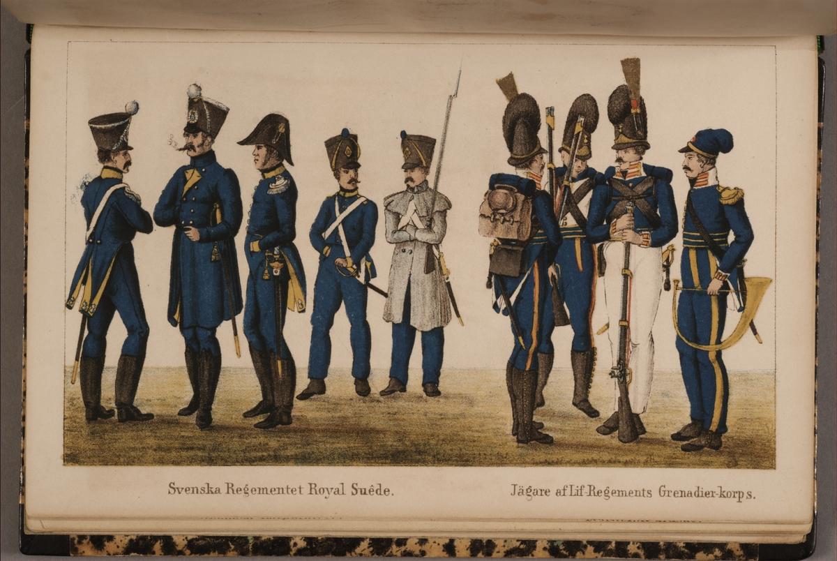 Royal Suédois. Jägare av Livregementets grenadjärkår. Uniformsteckning av Carl Johan Ljunggren tryckt i boken Minnesanteckningar under 1813 och 1814 års kampanjer uti Tyskland och Norge, utgiven 1855.