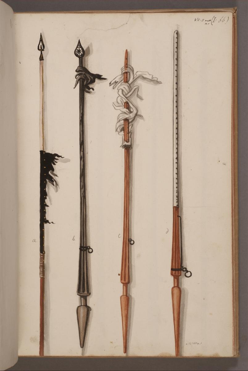 Avbildning i gouache föreställande fan- och standarstänger tagna som troféer av svenska armén. Stängerna längst till höger och vänster finns bevarade i Armémuseums samling, för mer information, se relaterade objekt.