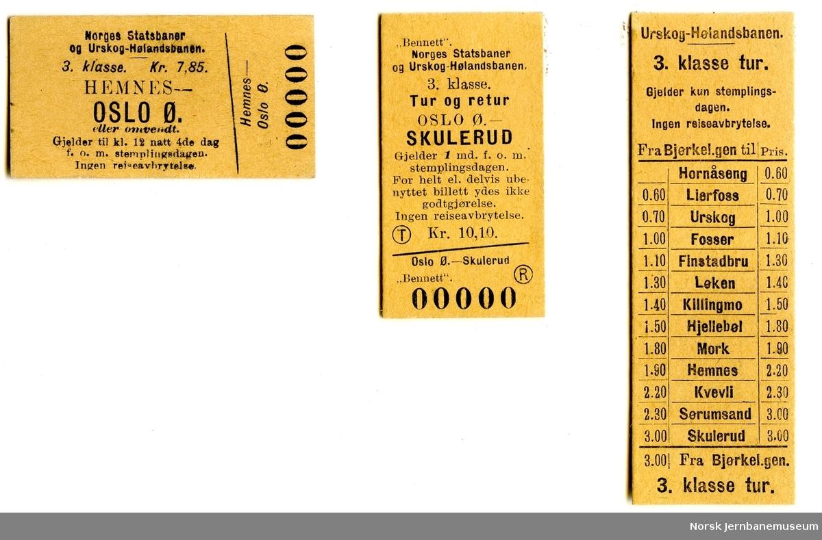 Diverse billetter Urskog-Hølandsbanen og samtrafikk NSB Urskog-Hølandsbanen, ubrukte